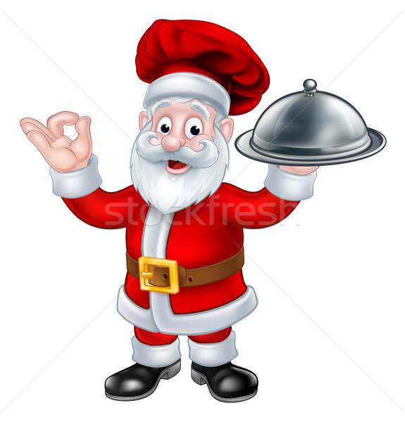 Santa Claus Chef Christmas Cartoon Character Stock photo © Krisdog