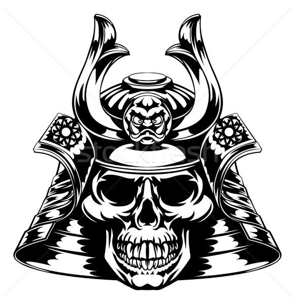 Crânio samurai cara máscara capacete fundo Foto stock © Krisdog