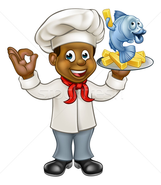 Cartoon noir chef poissons puces personnage Photo stock © Krisdog