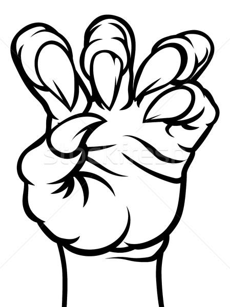 Garra monstro mão assustador preto e branco verde Foto stock © Krisdog