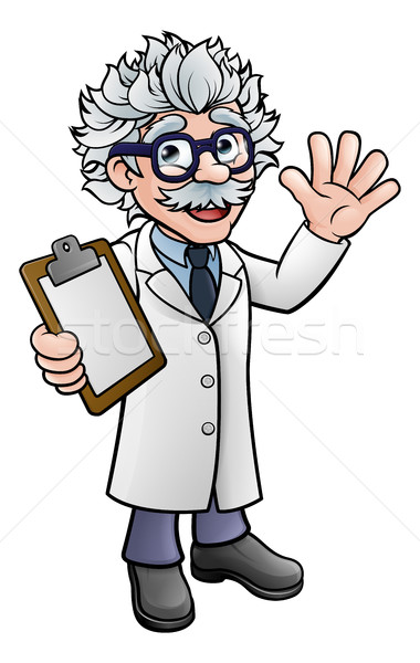 Cartoon Scientist Professor with Clipboard Stock photo © Krisdog