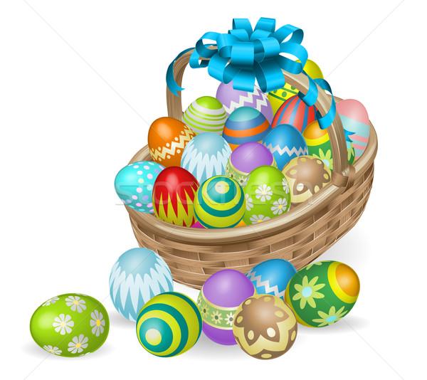Színes festett húsvéti tojások kosár húsvét kék Stock fotó © Krisdog