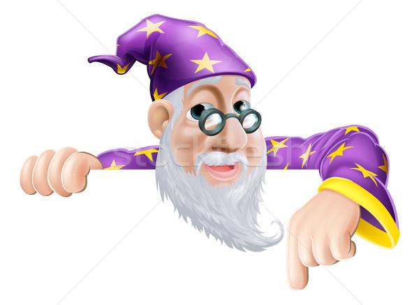 Fun Wizard Pointing Down Stock photo © Krisdog