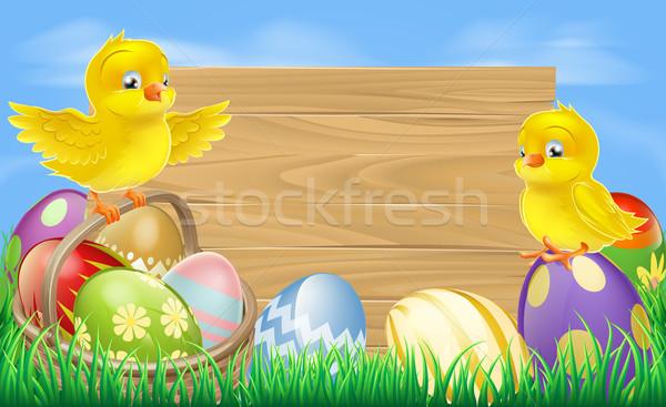 Easter eggs sign Stock photo © Krisdog