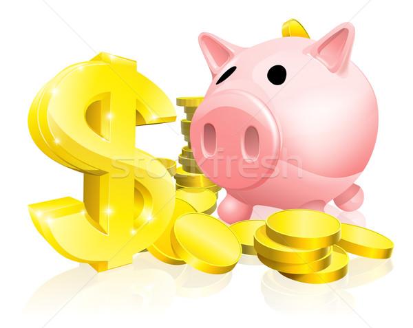Stock fotó: Dollárjel · persely · illusztráció · rózsaszín · arany · érmék · nagy