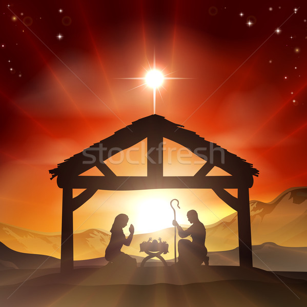 Nativity Christian Christmas Scene Stock photo © Krisdog