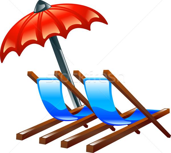 Deck or beach chairs and parasol Stock photo © Krisdog