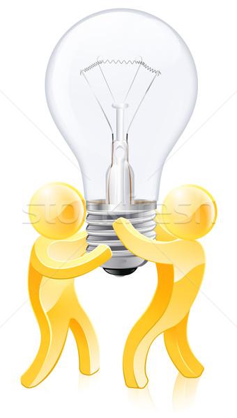 創造的思考 2 金 人 電球 ストックフォト © Krisdog