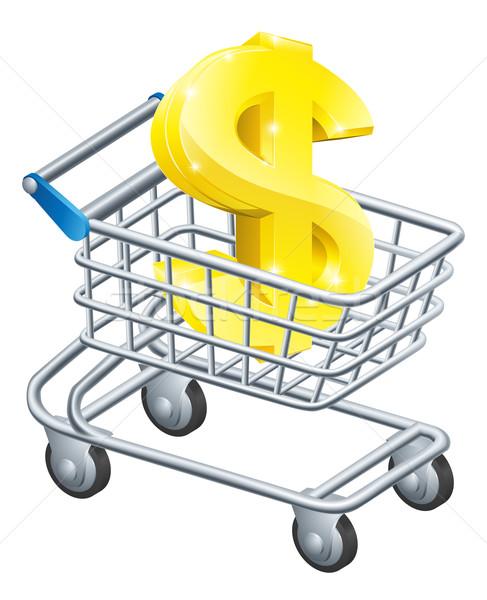 доллара валюта корзины знак доллара супермаркета Корзина Сток-фото © Krisdog