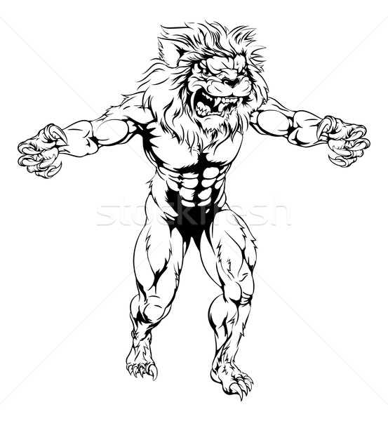 Lion scary sports mascot Stock photo © Krisdog