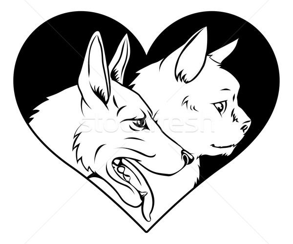 Cat and dog pet heart Stock photo © Krisdog
