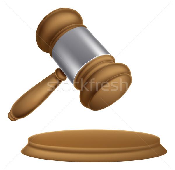 Houten veiling hamer illustratie rechter verkoop Stockfoto © Krisdog
