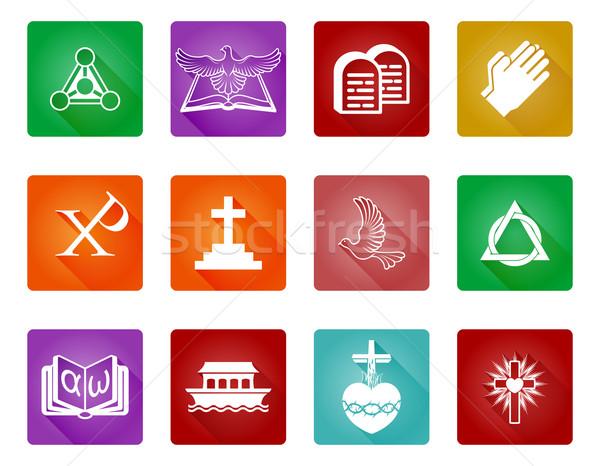 христианской икона набор религиозных иконки Сток-фото © Krisdog