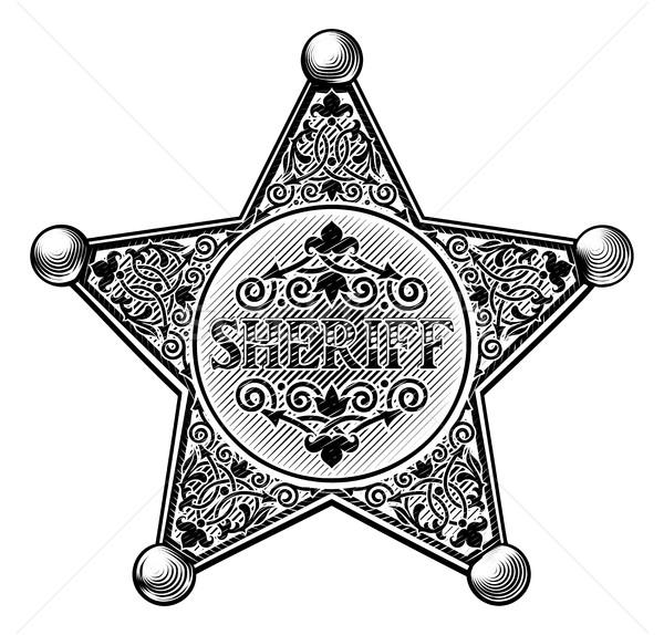 Sheriff csillag kitűző stílus klasszikus western Stock fotó © Krisdog