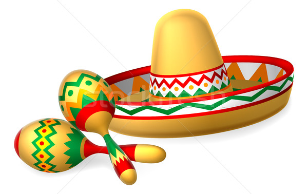 Mexicaanse sombrero hoed muziek patroon cartoon Stockfoto © Krisdog