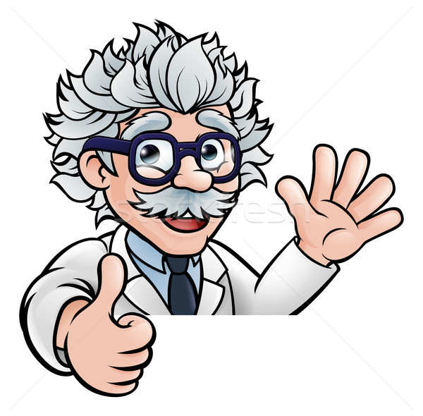 Scientist Cartoon Character Sign Thumbs Up Stock photo © Krisdog