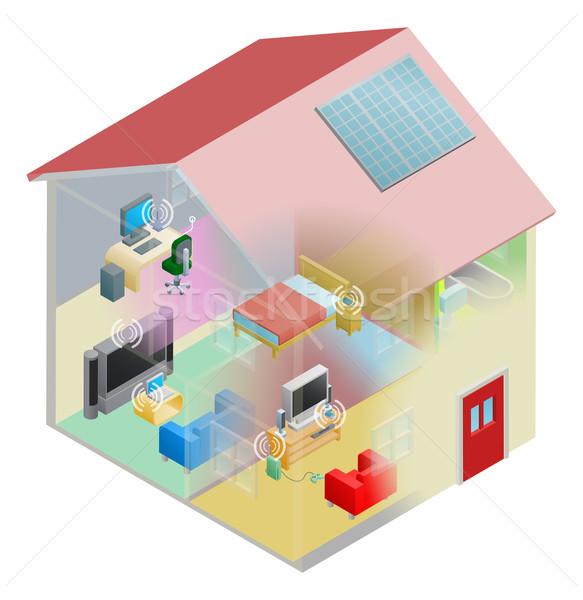Foto stock: Casa · rede · internet · sem · fio · computing · dispositivos