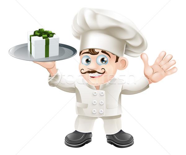 Chef présents illustration argent heureux restaurant Photo stock © Krisdog