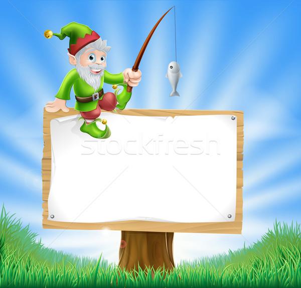 Garden gnome or elf sign Stock photo © Krisdog