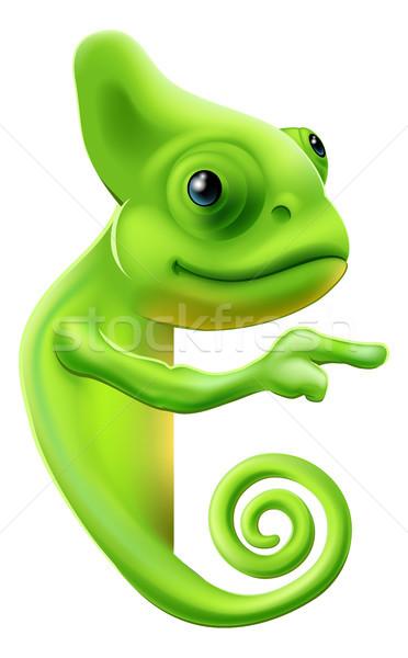 Desenho animado camaleão indicação ilustração bonitinho assinar Foto stock © Krisdog