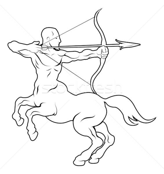 лучник иллюстрация черный татуировка человека лошади Сток-фото © Krisdog
