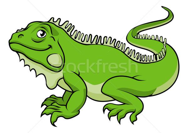 Cartoon leguaan hagedis illustratie gelukkig groene Stockfoto © Krisdog