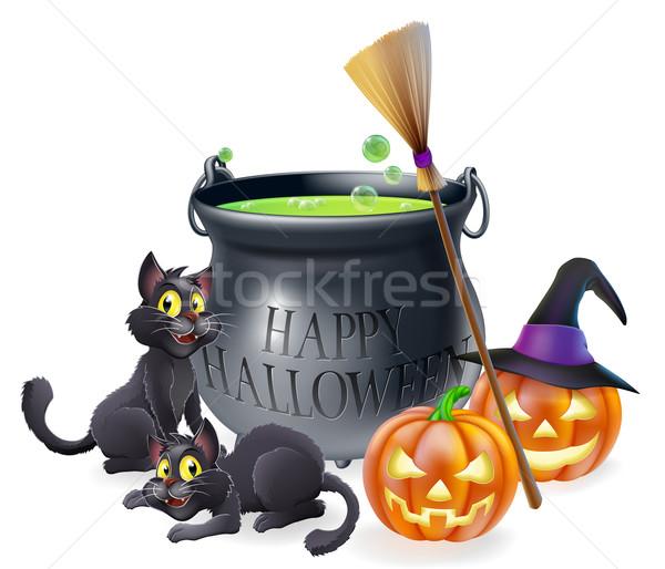 Happy Halloween Cartoon Illustration Stock photo © Krisdog