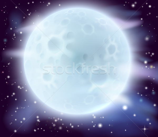 Grand pleine lune cartoon illustration Photo stock © Krisdog
