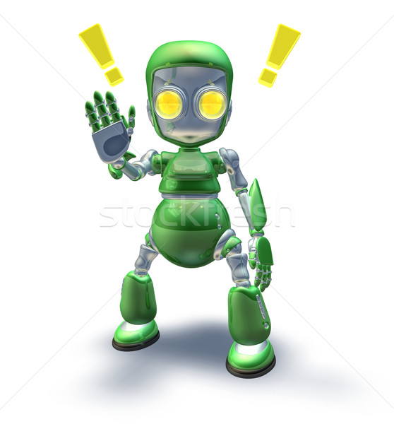 Cute green friendly robot mascot showing Stock photo © Krisdog
