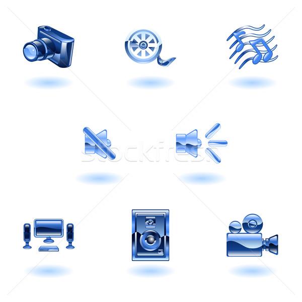 Shiny Media Icons Stock photo © Krisdog