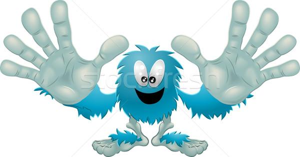 Cute amichevole peloso blu mostro illustrazione Foto d'archivio © Krisdog