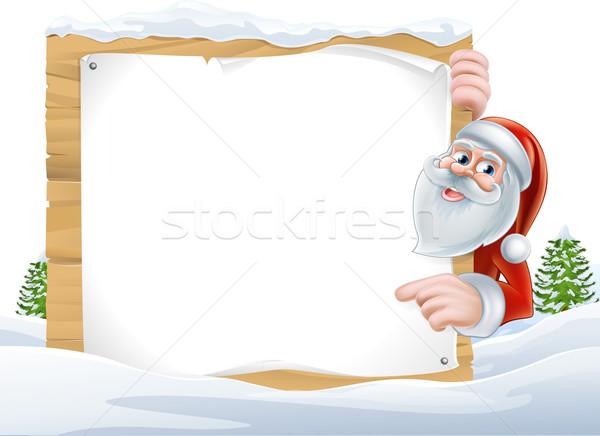 Santa Cartoon Christmas Sign Stock photo © Krisdog