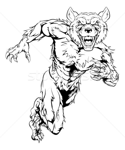 Wolfman mascot sprinting Stock photo © Krisdog