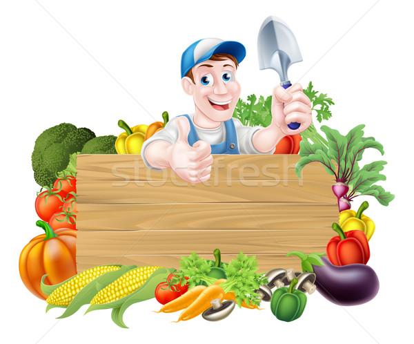 Gardener and Vegetables Sign Stock photo © Krisdog