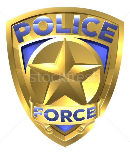 Polícia ouro distintivo estrela centro segurança Foto stock © Krisdog