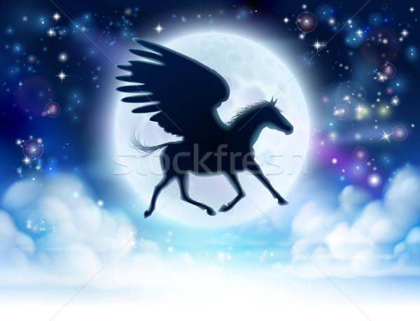 Voador lua silhueta mitológico cavalo lua cheia Foto stock © Krisdog