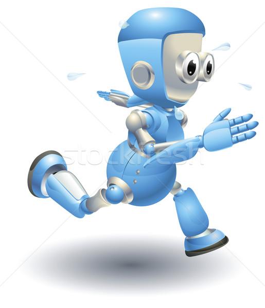 Sevimli mavi robot karakter çalışma hızlı Stok fotoğraf © Krisdog