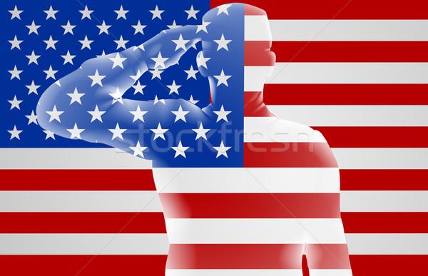American Soldier Saluting  Stock photo © Krisdog