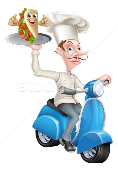 Chef on Scooter Moped Delivering Pita Kebab Stock photo © Krisdog