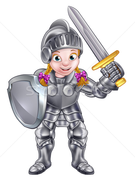 Cartoon Knight Girl Stock photo © Krisdog