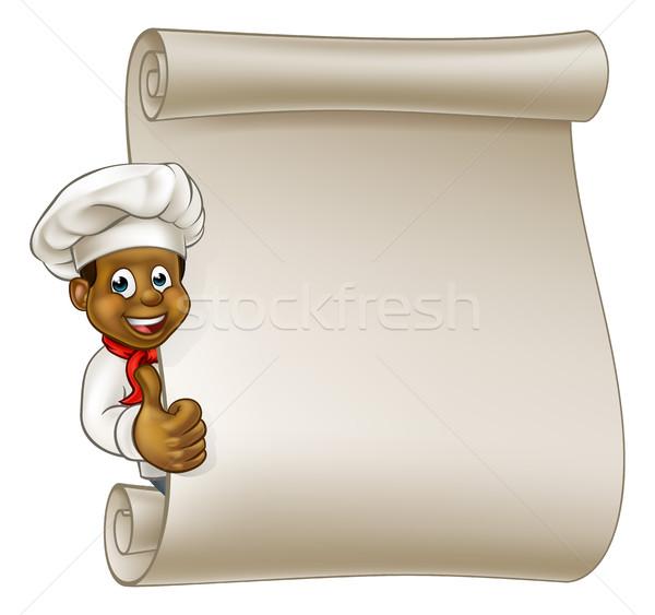 Cartoon Black Chef Menu Scroll Stock photo © Krisdog