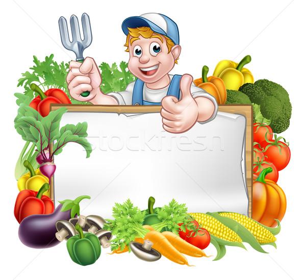 Gardener Vegetables Sign Stock photo © Krisdog