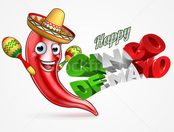 Mayonesa chile pimienta anunciante diseno feliz Foto stock © Krisdog