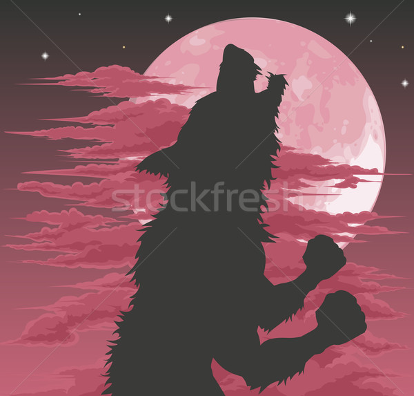 Stockfoto: Weerwolf · silhouet · maan · beangstigend · halloween · illustratie