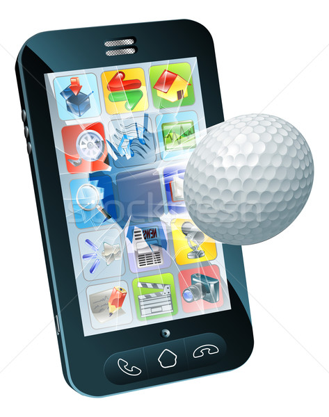 Golf ball flying out of mobile phone Stock photo © Krisdog