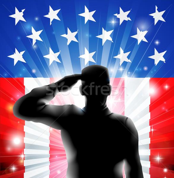 US flag military soldier saluting in silhouette Stock photo © Krisdog