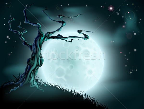 Blue Halloween Moon Tree Background Stock photo © Krisdog