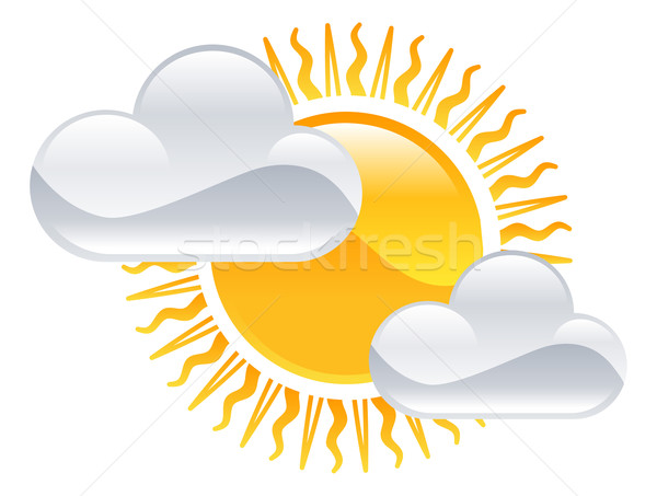 Weather icon clipart sun and clouds illustration Stock photo © Krisdog