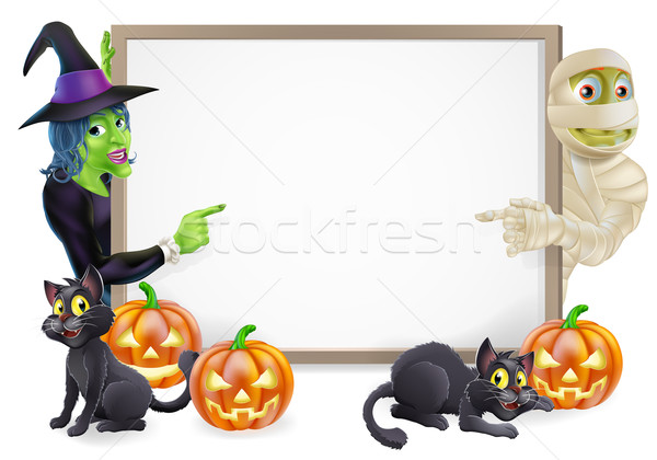 Mummy and Witch Halloween Sign Stock photo © Krisdog