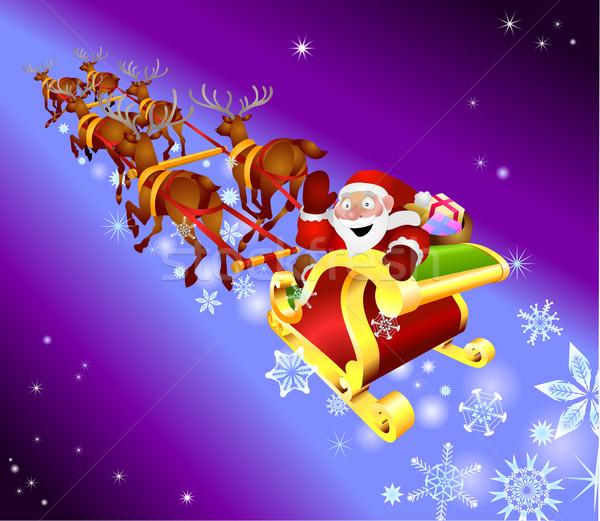 christmas sled illustration Stock photo © Krisdog